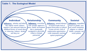 Drawing of the social ecological model with overlapping ovals showing the individual, relationship, community and societal levels.