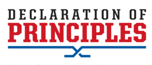 "The words ""Declaration of Principles"" with two blue hockey sticks underlining the word ""principles"""