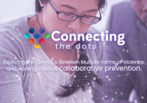 """Photo of person with a long dark ponytail and glasses looking down. The words """"Connecting the Dots"""" appear in white in the center of the image"""
