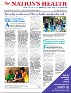 COver of the Nation;s Health on Preventing Sexual Asaalut with headlines and text