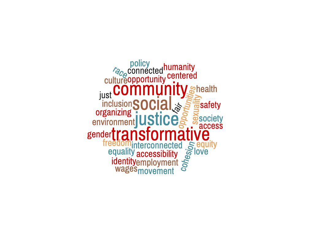 word cloud with the words: social, justice, community, equity, safe, policy, race, gender, sexuality, equity, fair, community, inclusion, cohesion, transformative