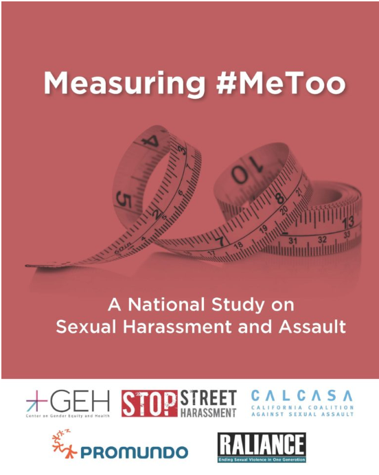 """Red background with coiled fabric measuring tape. Text reads """"Measuring #MeToo: A national study on sexual harassment and assault."""" UCSD Center on Gender Equity and Health (GEH), Stop Street Harassment, California Coalition Against Sexual Assault (CALCASA), Promundo, RALIANCE. Report available at http://www.stopstreetharassment.org/our-work/nationalstudy/2019study/"""