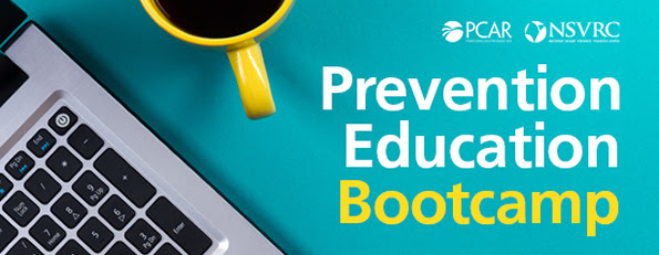 PCAR NSVRC Prevention Education Bootcamp. Image of left part of laptop key board and a yellow mug filled with dark liquid on a teal background