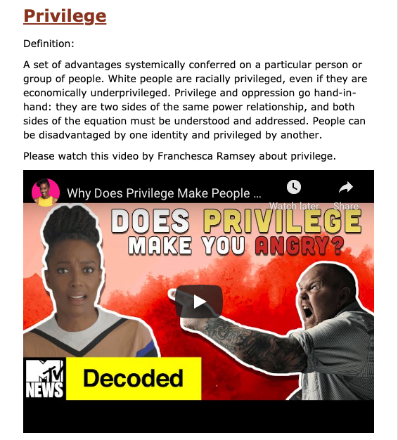 """Screen shot from the WCSAP eLearning Course. Text reads """"Privilege. Definition: A set of advantages systemically conferred on a particular person or group of people. White people are racially privileged, even if they are economically underprivileged. Privilege and oppression go hand-in-hand: they are two sides of the same power relationship, and both sides of the equation must be understood and addressed. People can be disadvantaged by one identity and privileged by another. Please watch this video by Franchesca Ramsey about privilege."""" Image of a YouTube video featured Franchesa Rmasey from MTV's Decoded with a pink and red background and an imag eof an angry, white, bald man yelling and pointing in her direction."""