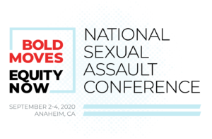 """A graphic containing the words """"Bold Moves"""" in red block font and """"Equity Now"""" in black block font underneathe. To the right are the words """"National Sexual Assault Conference"""" in black font."""