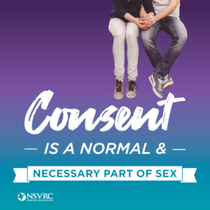 Consent is a normal and necessary part of sex displayed under two people holding hands