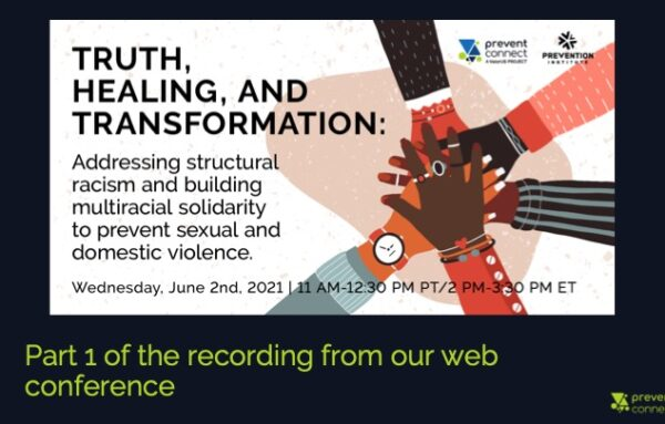 """Part 1   Excerpts from """"Truth, Healing, and Transformation: Addressing structural racism and building multiracial solidarity to prevent sexual and domestic violence"""""""