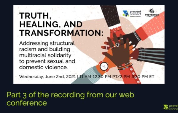 """Part 3   Excerpts from """"Truth, healing, and transformation: Addressing structural racism and building multiracial solidarity to prevent sexual and domestic violence"""""""